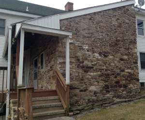Original section of the Micek house, which faces south down Route 579