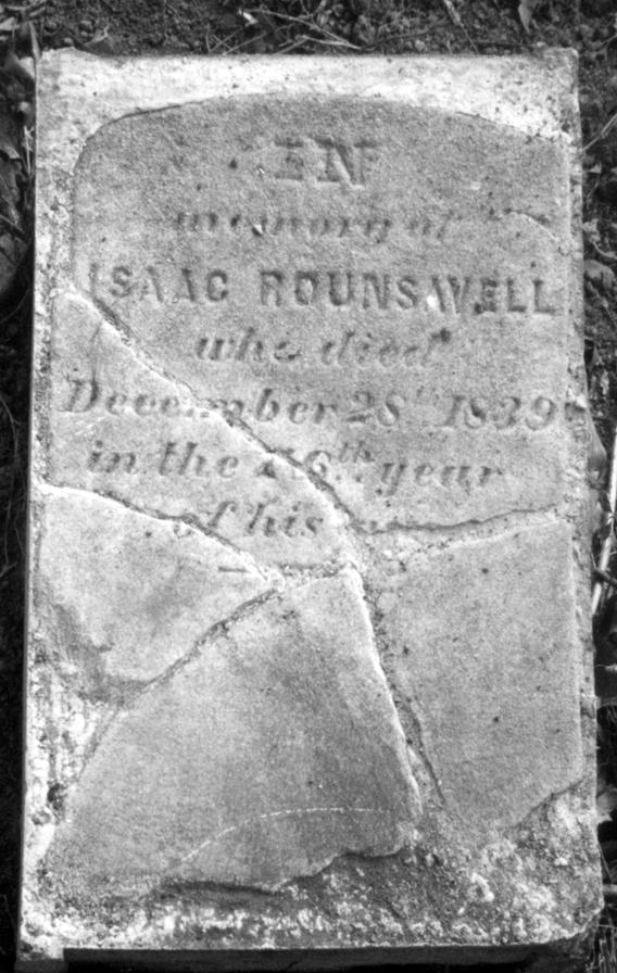 Gravestone of Isaac Rounsavell, which was crushed by a large tree root and pieced back together by Brian Rounsavill. Photo courtesy of Brian E. Rounsavill of Newtown, Pennsylvania
