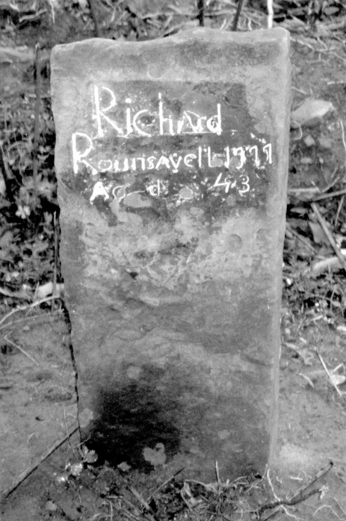 "Gravestone of Richard Rounsavell, Jr. Inscription reads, ""Richard Rounsavell, 1777, Ag'd 43."" This is the oldest stone in the Sutton Burying Ground. Photo courtesy of Brian E. Rounsavill of Newtown, Pennsylvania"