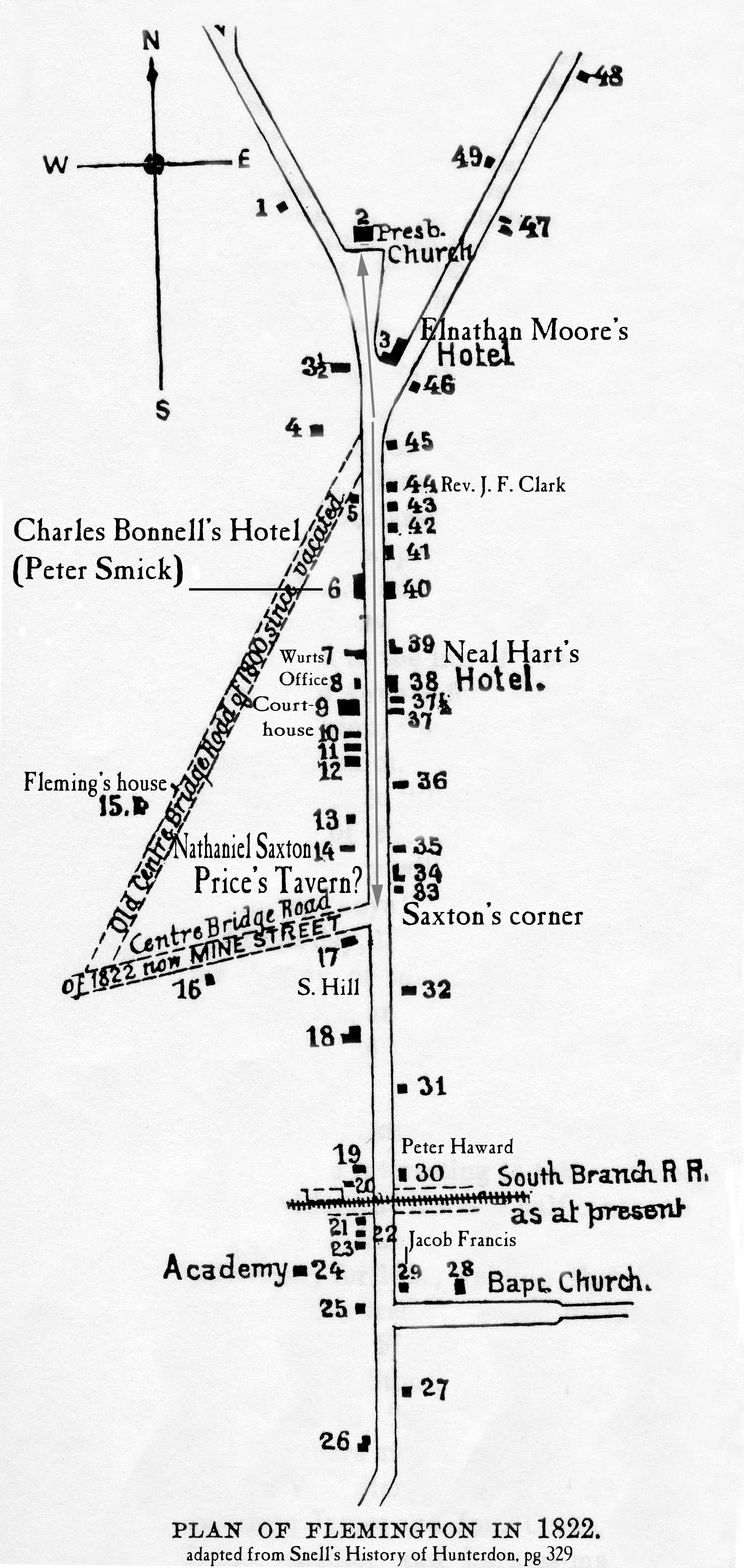 Plan of Flemington, 1822, with additions by Marfy Goodspeed