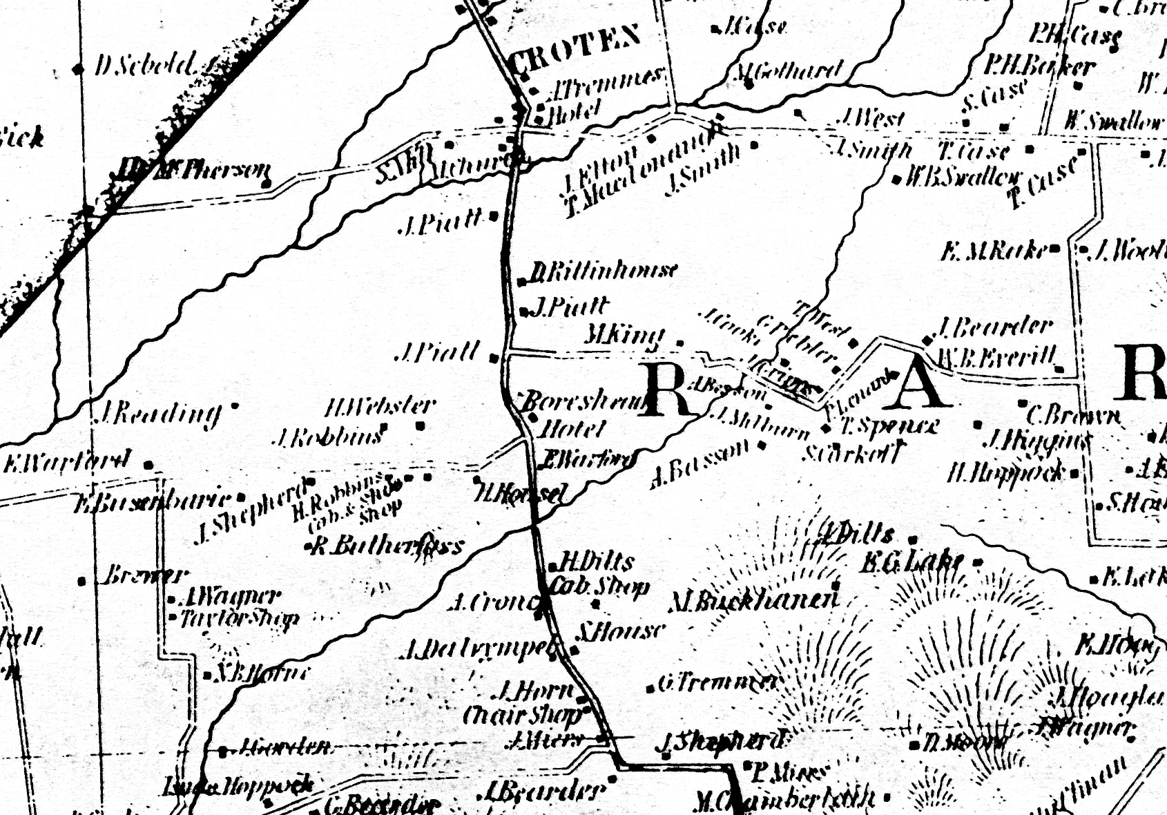"Detail of the Cornell Map of 1851, showing the location of the Boarshead Tavern (""Hotel"") and Dr. James Pyatt."