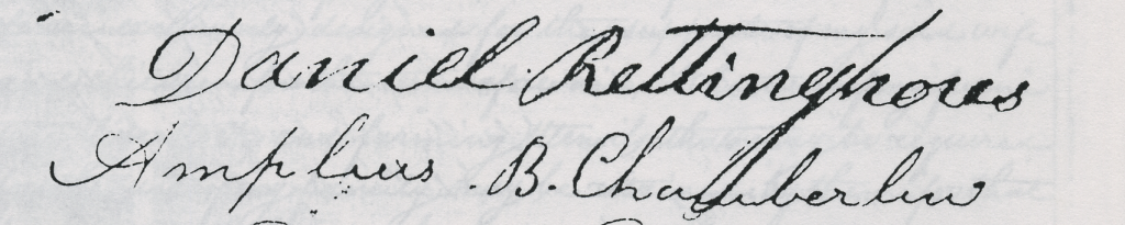 Signature of Daniel Rittenhouse (Rettinghous) on the tavern application of Benjamin Hyde, 1829