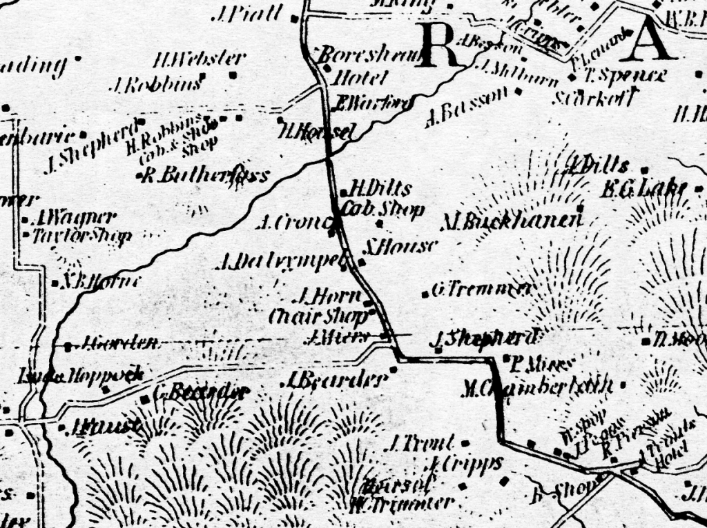 Detail of the 1851 Cornell Map of Hunterdon County
