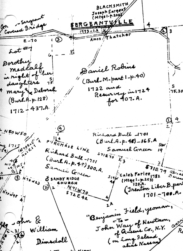 Detail of Hammond Map F showing Richard Bull's 300 acres