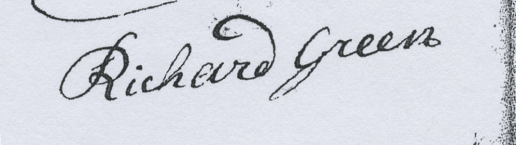 Signature of Richard Green, 1737, on Hunterdon County Loan Office application