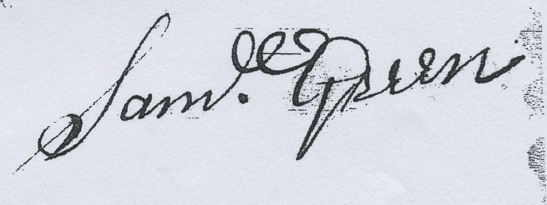 Signature of Samuel Green Sr., from a mortgage of 1737