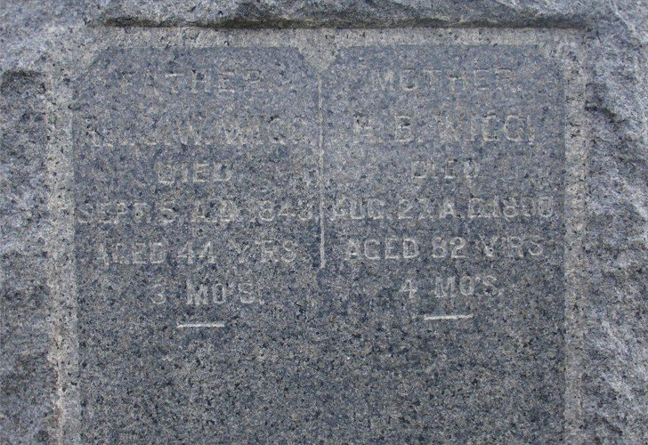 """Gravestone of James and Huldah Wigg, from """"Find-a-Grave"""""""