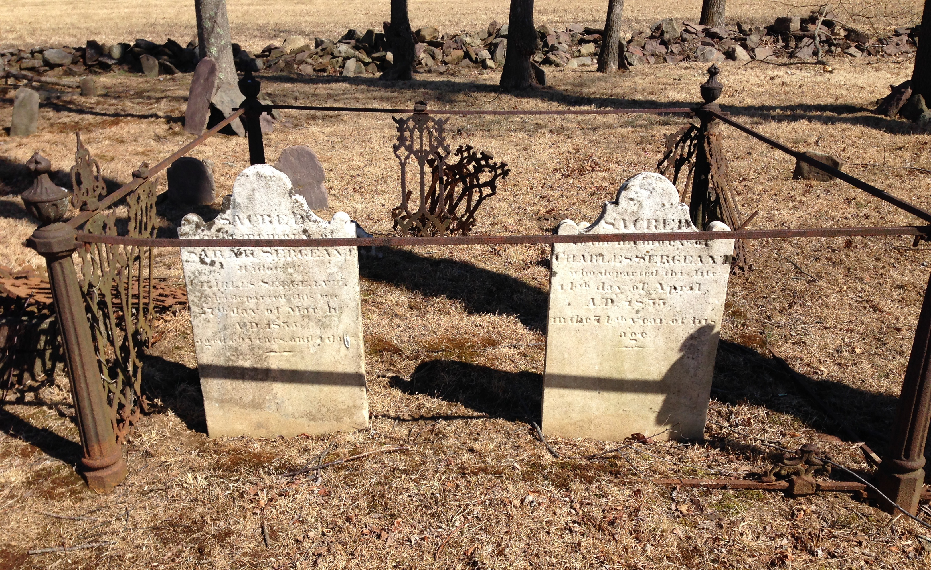 Charles Sergeant and wife Sarah Green, Pine Hill Cemetery.