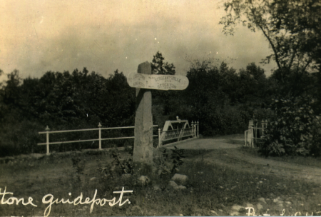 Early view of stone post at Peck's Ferry Bridge