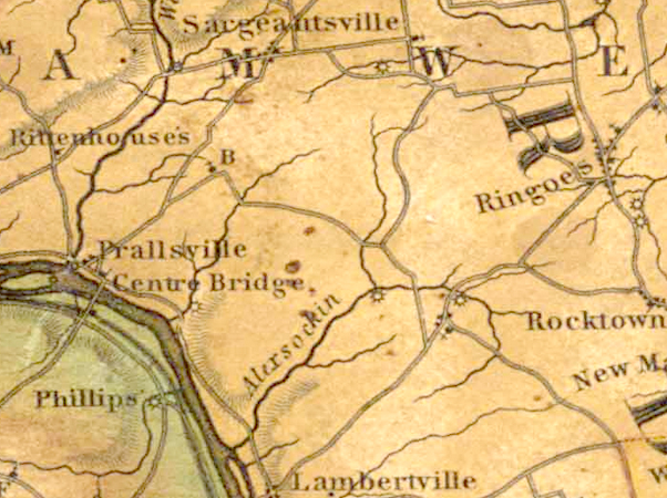 Detail of Thomas Gordon's Map of New Jersey, 1828