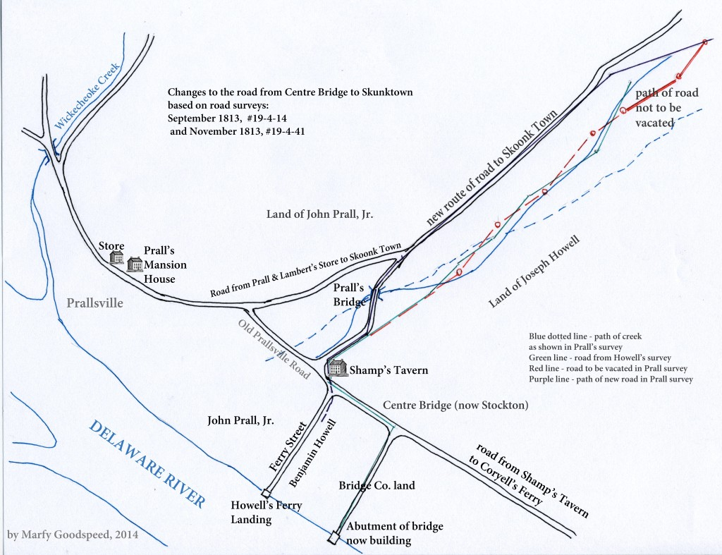 Map of old and new roads from Centre Bridge to Sergeantsville