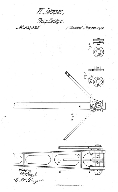 Drawing for William Johnson's Improvement to Truss Bridges, 1870