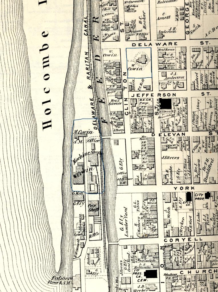 Detail of Beers-Comstock Atlas of 1873 for Lambertville