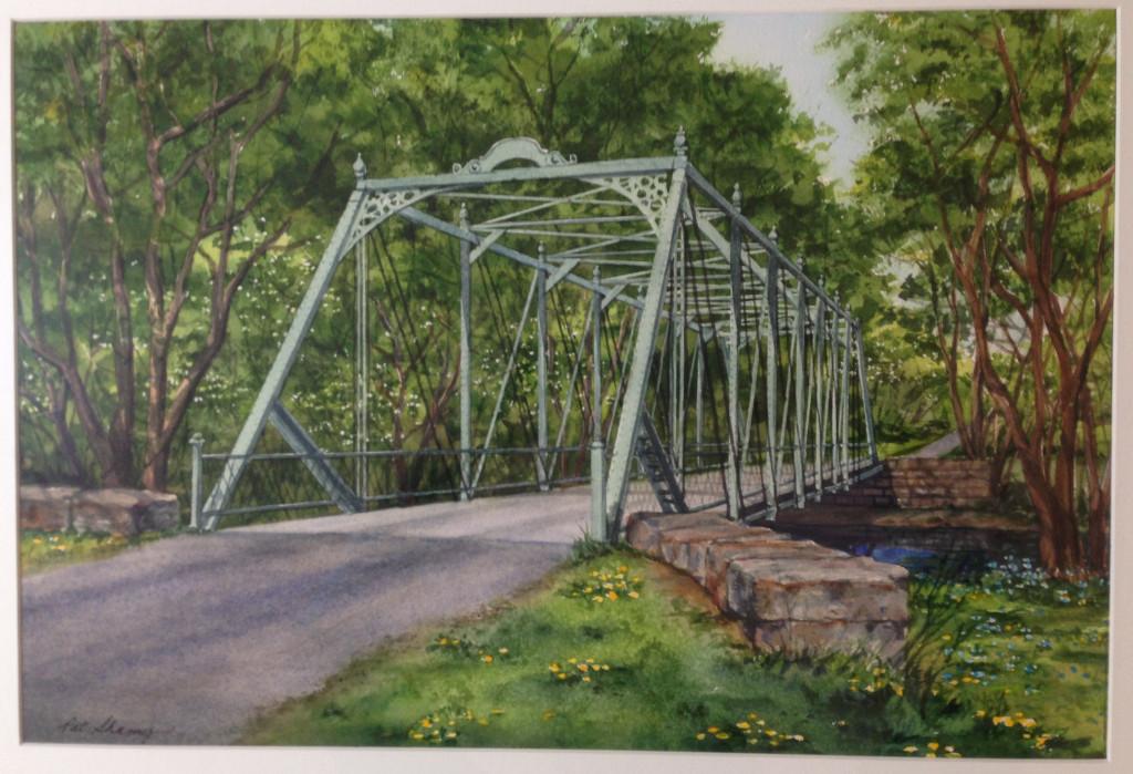 Watercolor of the Raven Rock Road bridge by Pat Shamy