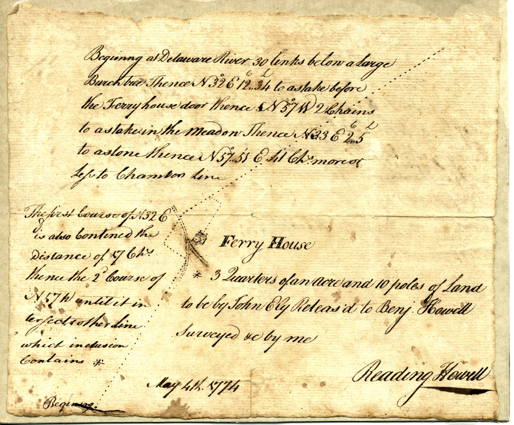 1774 Survey by Reading Howell, made for Benjamin Howell