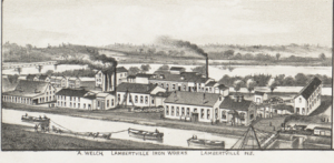 """Detail from """"Aerial View of Lambertville,"""" 1883 showing Lambertville Iron Works"""