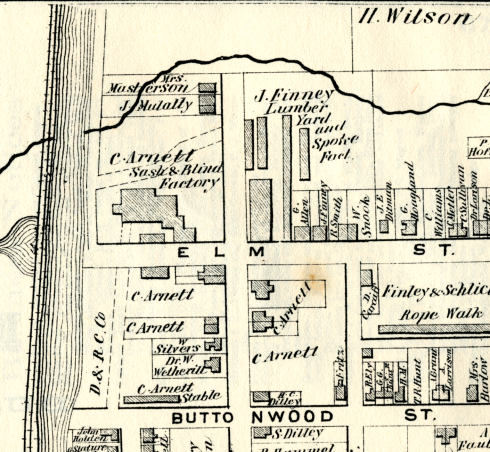 Finney Lumberyard and Spoke Factory, Beers Atlas, 1873