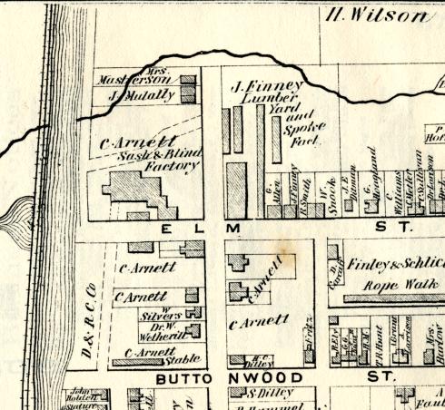 Finney Lumberyard and Spoke Factory, Beers Atlas, 1873