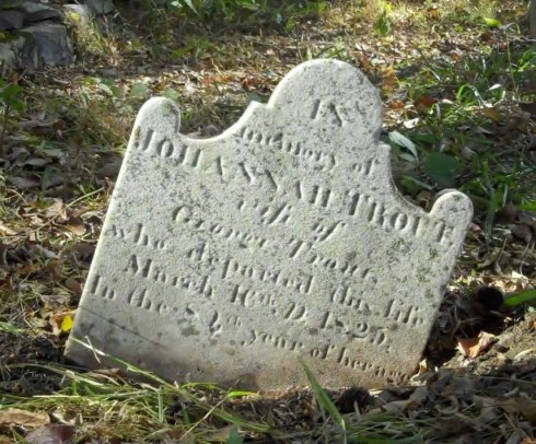 Gravestone of Johannah Trout, photographed by Bob and Leslie Leith