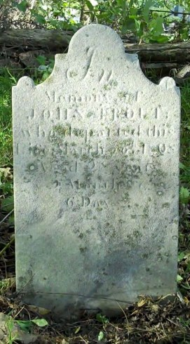 Gravestone of John Trout, photographed by Bob and Leslie Leith