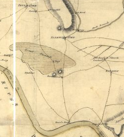 detail of the 1781 Map by Lt. J. Hills, showing the Great Swamp