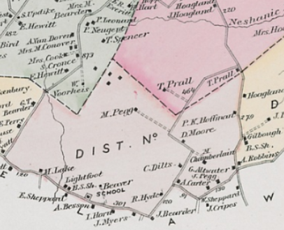 Detail of the 1873 Beers-Comstock map of Raritan Twp.