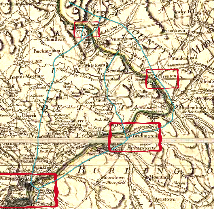 Detail of the Fadden Map of 1778, with roads highlighted