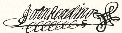 Signature of John Reading Sr.