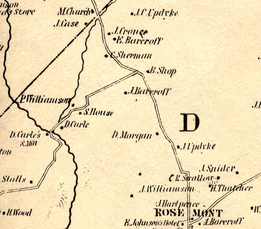 Detail of the 1851 Cornell Map showing the vicinity of Ducks' Flat
