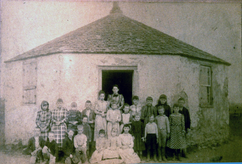 early photograph of the six-sided school house