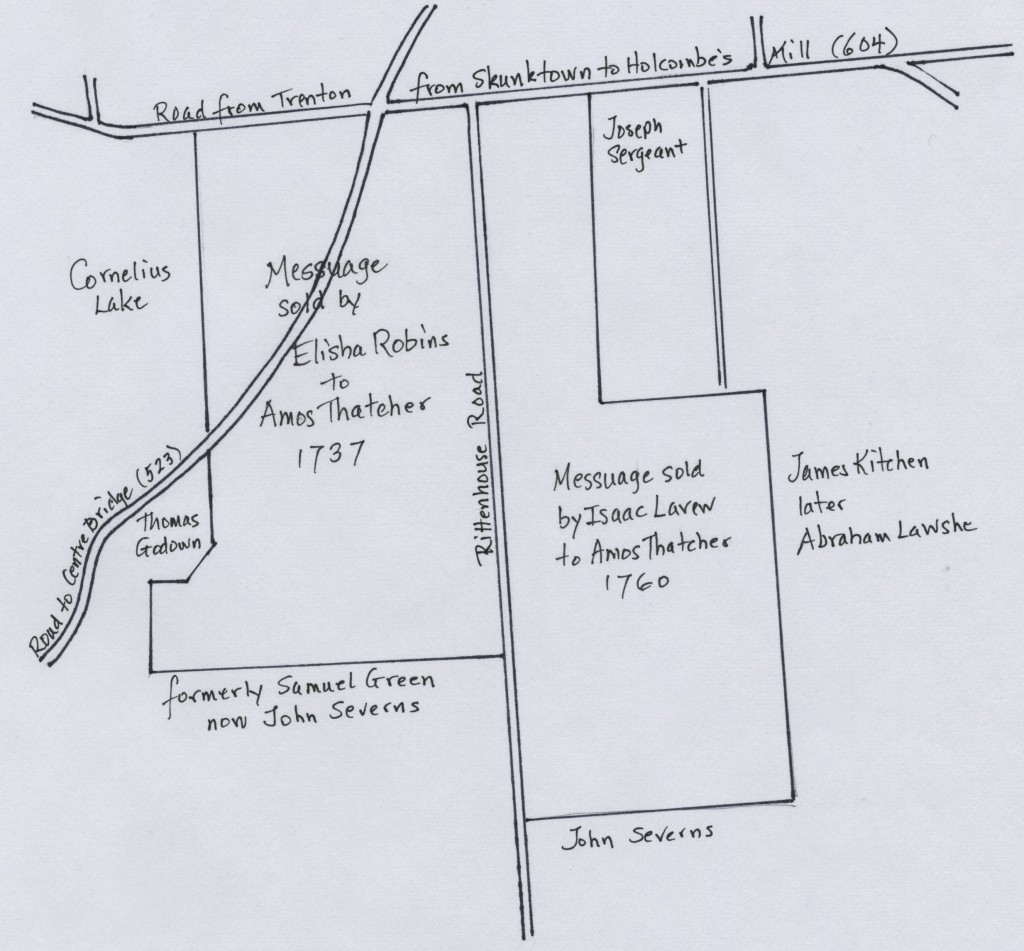 Map of the two tracts of land purchased by Amos Thatcher