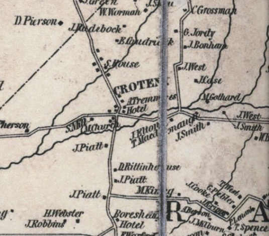 Detail of the 1851 Cornell Map, Croton vicinity