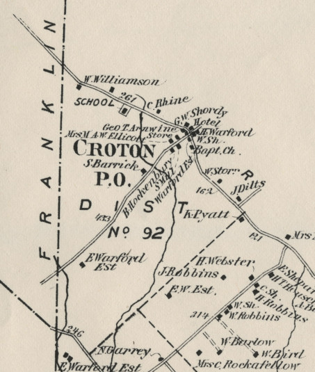 Detail of the 1873 Beers Comstock map of Delaware Twp., Croton