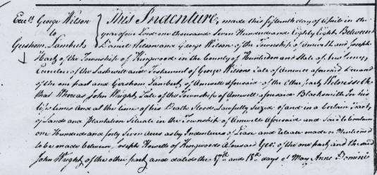 Detail of deed from estate of George Wilson to Gershom Lambert
