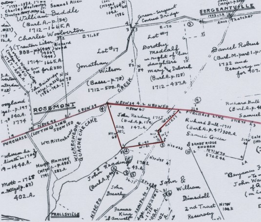Detail of Hammond, Map F, showing John Reading's 147 acres