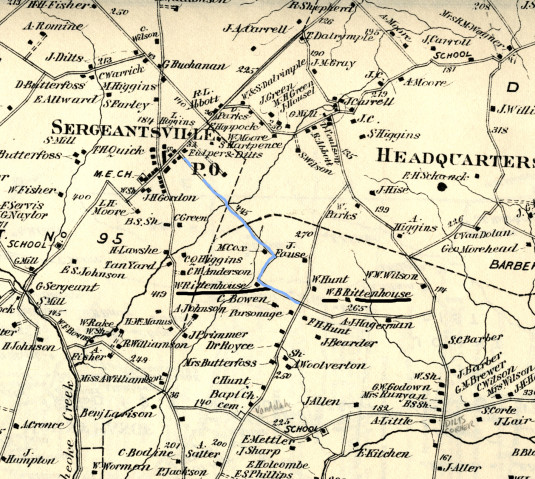 Detail from Beers Atlas of 1873, Delaware Township
