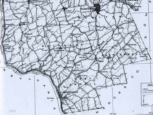Detail of 1905 map of Hunterdon County