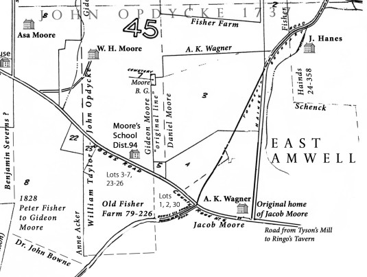 Detail of Delaware Twp. tax map showing the cemetery as lot 7