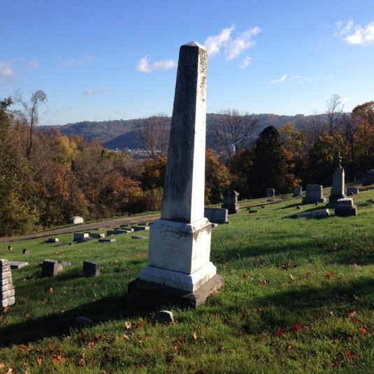 Gravemarker for Joseph and Keziriah Mercer in the Greenwood Cemetery overlooking the town of Bellaire, Ohio